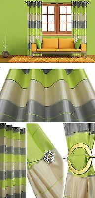 Voile Tende Ready Made a Righe Decorazione da finestra Anello con occhielli superiori TENDINE