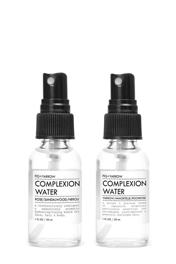 The Complexion Water from all natural apothecary label Fig + Yarrow offers the skin reparative, balancing, toning and aromatherapeutic moisture in a skin hydrating mist. Available in two blends.