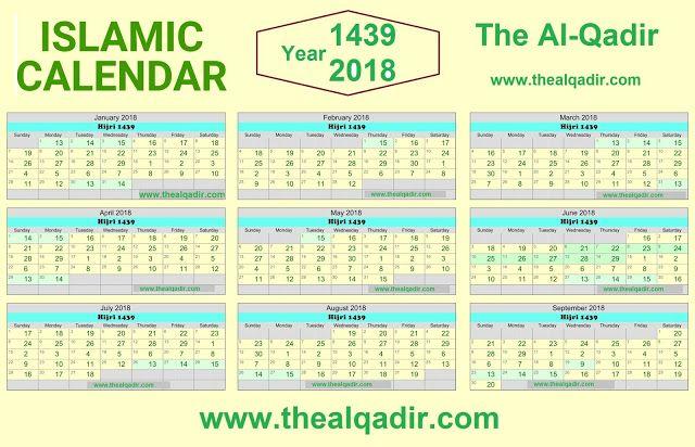 Islamic Calendar 2018 Hijri Gregorian By Thealqadir Islamic Calendar Hijri Calendar School Calendar