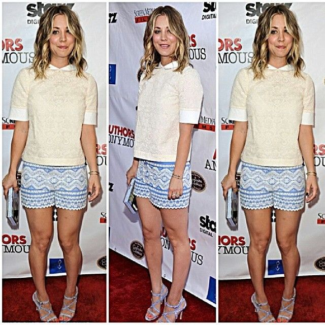 #kaleycuoco #fashion #style #stylish #legs #blonde #thebigbangtheory #wedding #engagement #shorts #tribalprints #tribalprint #summer #clutch #peterpancollar #floral #floralshorts #actress #hollywood #celebrity... - Celebrity Fashion