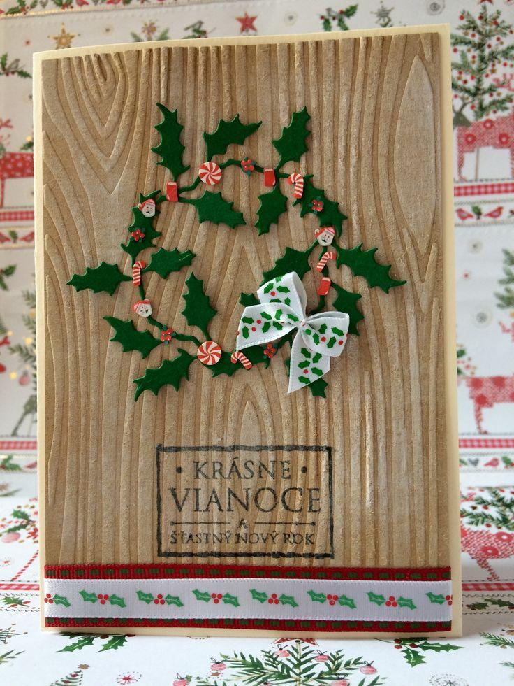 Christmas card Holly wreath
