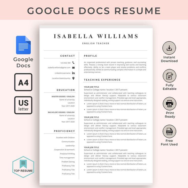 Google docs resume google docs resume template teacher