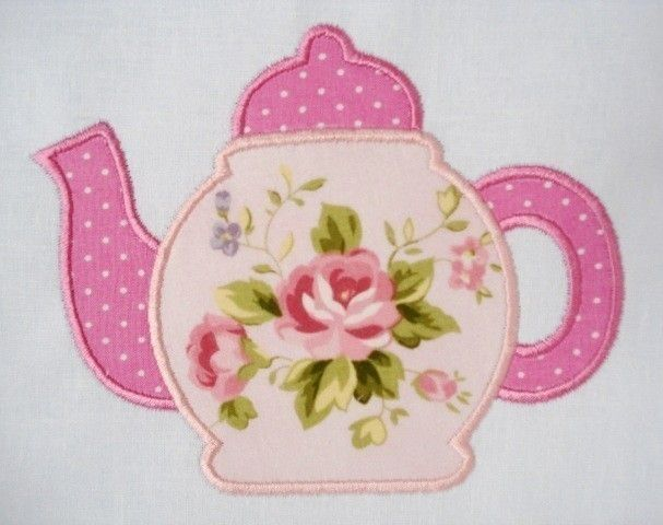 Teapot Machine Embroidery Applique Design 4x4 and 5x7. $3.99, via Etsy.