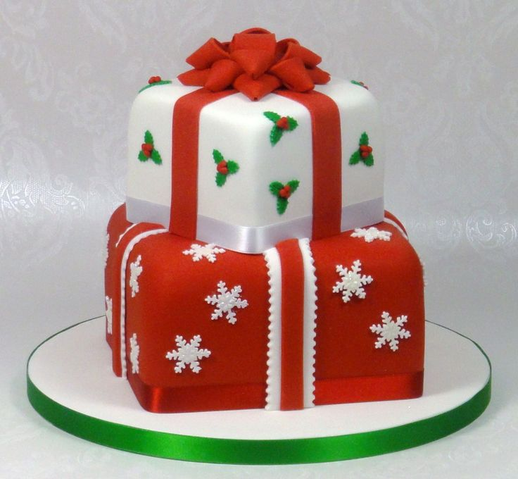 Christmas Presents Stacked Cake - 2 Tier Christmas ...