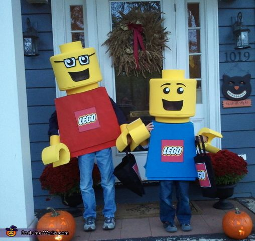 Kristen: My sons requested Lego mini-figure Costumes. I was a little worried how they would turn out, this was my very first homemade costume attempt, but they loved the end result....