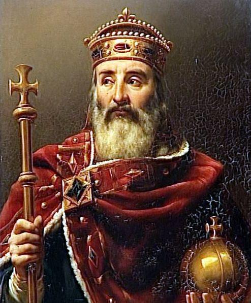 Charlemagne (742-814) Petit-fils de Charles Martel, Charles était le fils de Pépin le Bref et de Bertrade. Il hérita le 24 septembre 768 d'un royaume (l'Austrasie, la Neustrie et l'Aquitaine maritime) qui enserrait les terres de son frère cadet, Carloman, avec qui il ne s'entendait guère. La mort de Carloman, le 4 décembre 771, laissa à Charlemagne l'ensemble des possessions des Francs, c'est-à-dire la Gaule et une partie de la Germanie