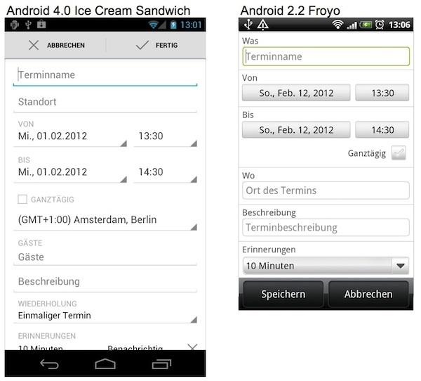 Neues Formular-Design für Android