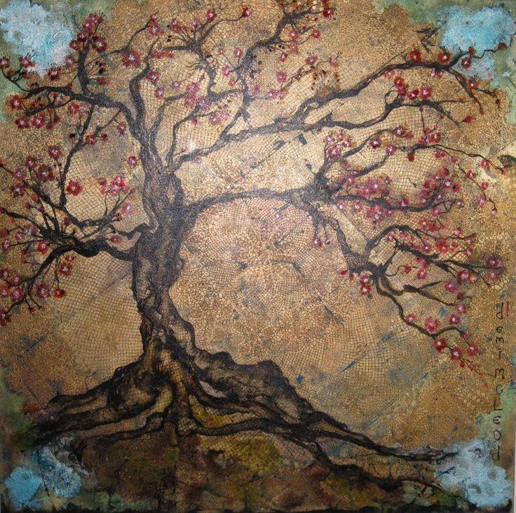 Demi Mcleod New works just arrived SHAKAN mixed media on canvas 102 x 102 cm $1,500  Shakan, the slanting bonsai tree.