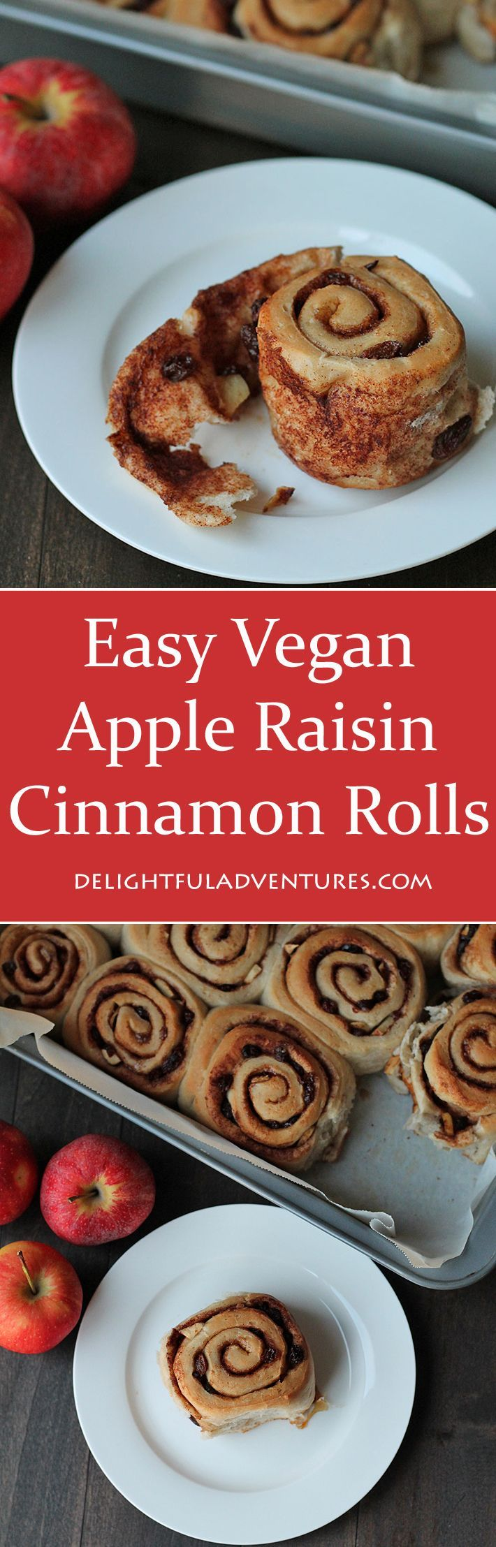 These easy vegan apple raisin cinnamon rolls are tender, not too sweet, and are bursting with flavour. They're the perfect companion for a cup of tea. via @delighfuladv