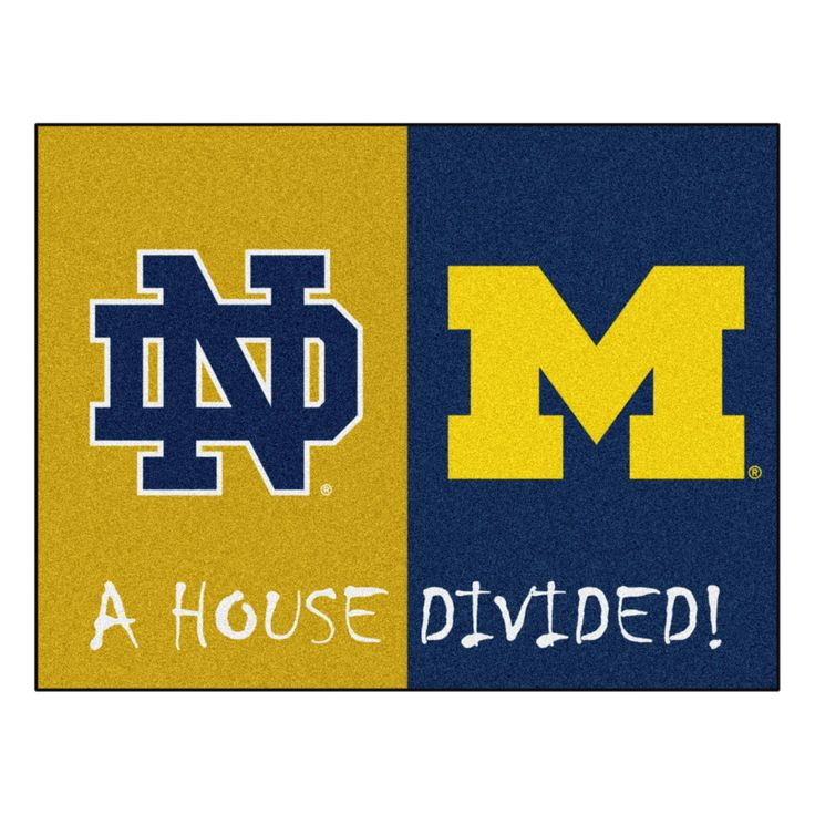 NCAA 33.75x42.5 House Divided Rug Notre Dame -Michigan, Notre Dame - Michigan