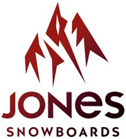 Jones Snowboarding logo.  It uses a jagged mountain silhouette to represent what the brand is selling. The typeface looks modern and appealing. the gradient helps to make it more interesting and less bland.  (Jack Shepherd)