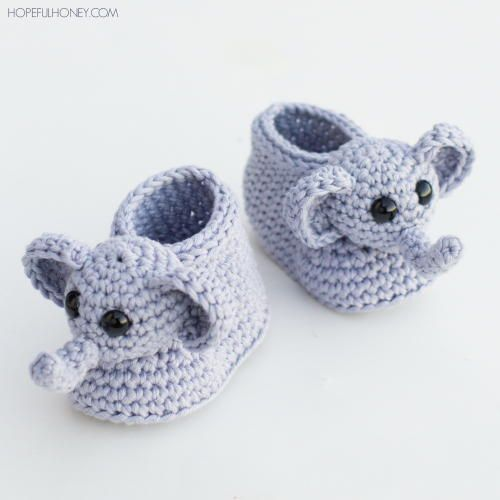 Ellie The Elephant Crochet Baby Booties| Crochet baby booties just don't get much more adorable than this.