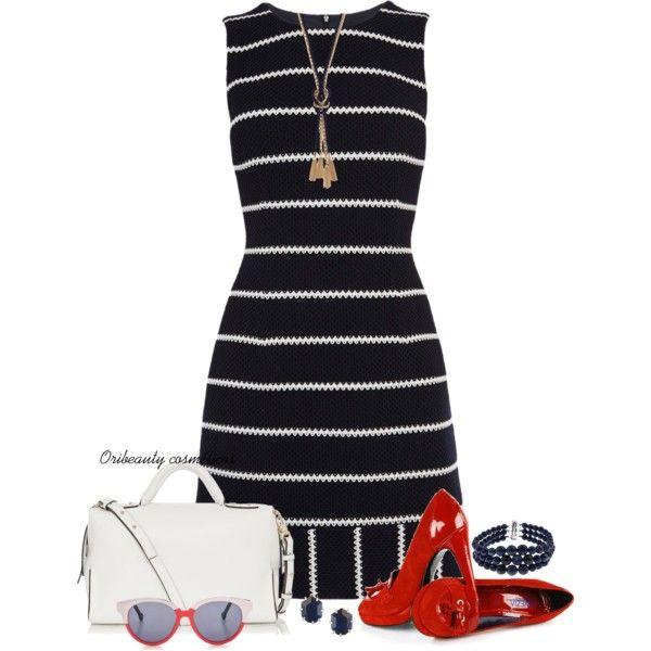 Karen Miller Striped Dress by oribeauty-cosmeticos on Polyvore featuring moda, Karen Millen, Kendra Scott, The Limited, Pearlz Ocean and Preen