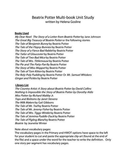 Beatrix Potter FREE Printables - Homeschool Giveaways