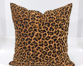 Chenille Leopard Natural Pillow cover, Animal Design Pillowcase, Woven chenille leopard Pillow Case, Home Accent