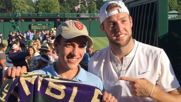 Towel tussle: Fans compete for Jack Sock souvenir     Wimbledon 2017 on the BBC     Venue: All England Club Dates: 3-16 July Starts: 11:30 BST   Live: Coverage across BBC TV, BBC Radio and BBC Sport website with further coverage on Red Button, Connected TVs and app. Click for full times.     It...