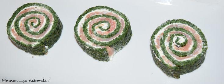 Roulé épinard, boursin et saumon