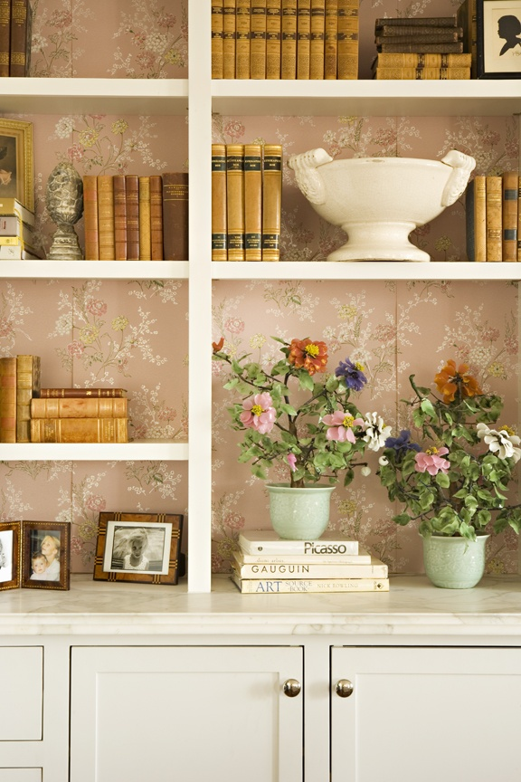 Annette Tatum Shows How Great Vintage Wallpaper Looks Behind Book Shelves What A Beautiful Background It Makes