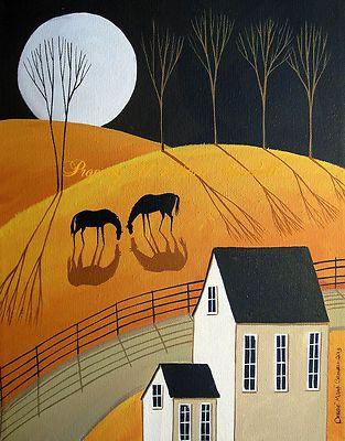 Original Painting Folk Art Primitive Landscape Horses Moon Trees Shadows Night | eBay