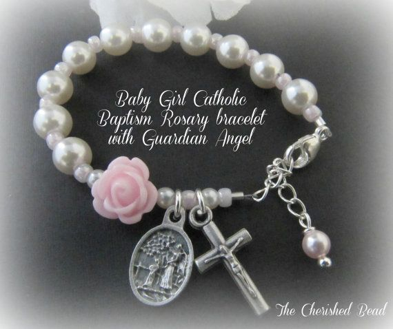 Catholic Baby Girl Baptism Rosary Bracelet with Pearl Rose and Guardian Angel on Etsy, $24.00