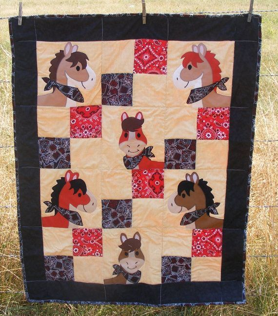 Baby or Toddler Quilt Horses in bandannas with black and red bandanna print with black edge and red bandanna print on back.  31 x 40.  Isn't this the cutest thing EVER?!