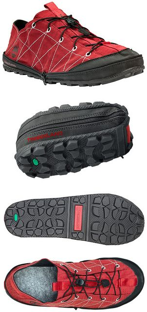 The compact Radler Trail Camp shoe by Timberland is a lightweight, collapsible shoe, perfect as an extra pair of shoes when out on the trails or camping. Uppers made of ripstop fabric, fleece-lined for comfort and made of 42% recycled rubber.