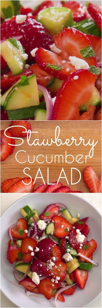 Fresh and easy summer salad with ripe strawberries, cucumbers, mint, red onions, and feta cheese tossed with a zesty homemade honey lemon salad dressing.