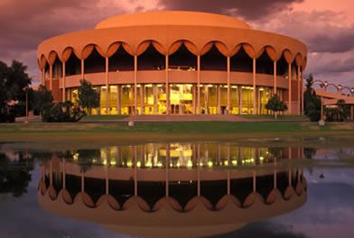 Gammage Auditorium, Arizona State University, designed by Frank Lloyd Wright. Tempe, Arizona