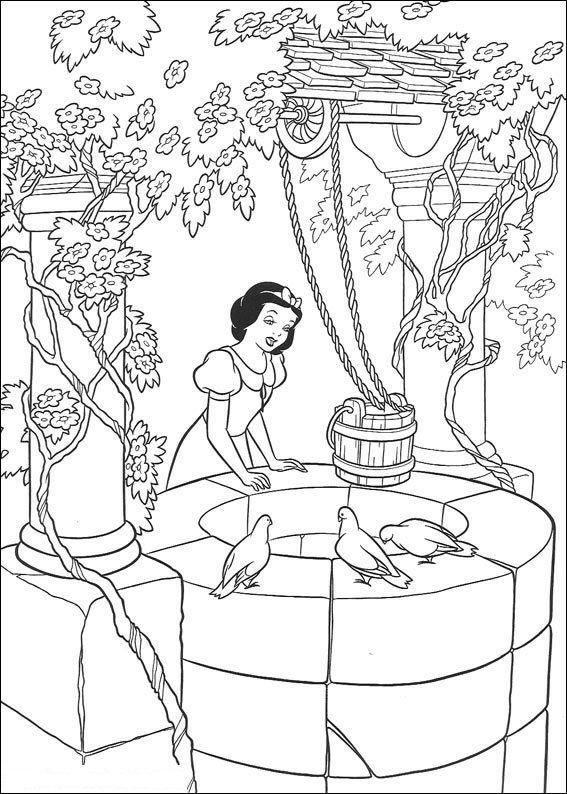 Princess Snow White Prince And Bird Disney Coloring Page