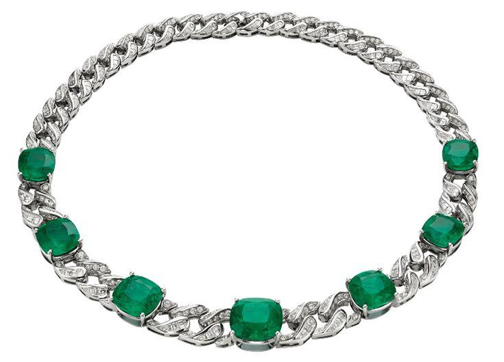 Bulgari gioielli - Collana Bulgari Gemme Principesche HJ in platino con 7 smeraldi e pavé di diamanti