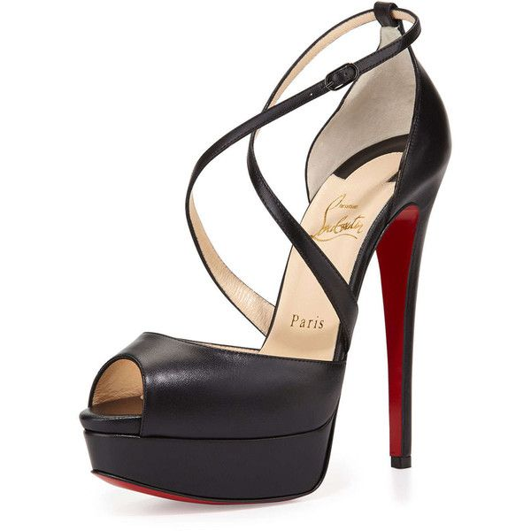 Christian Louboutin Cross Me Platform Red Sole Sandal (€965) ❤ liked on Polyvore featuring shoes, sandals, heels, christian louboutin, high heels, chaussure, black, platform heel sandals, leather sandals and high heel sandals