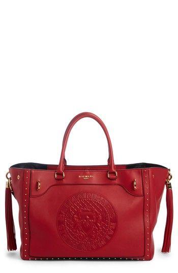 BALMAIN RENAISSANCE LEATHER TOTE - RED. #balmain #bags #shoulder bags #hand bags #leather #tote #