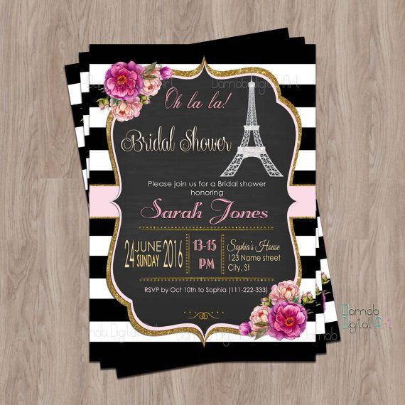 Paris Bridal Shower Invitation, Paris Shower Invitation, Eiffel Tower Bridal Shower Invitation, French Bridal Shower, Printable, invites