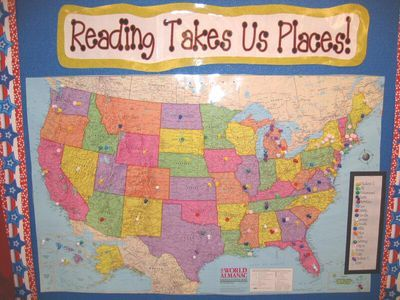 As students come across specific cities or states in the U.S. as they are reading books from the classroom library, they pinpoint them on the map using the colored tack that is designated for them on the map key.  This is a great way to connect reading workshop to social studies!