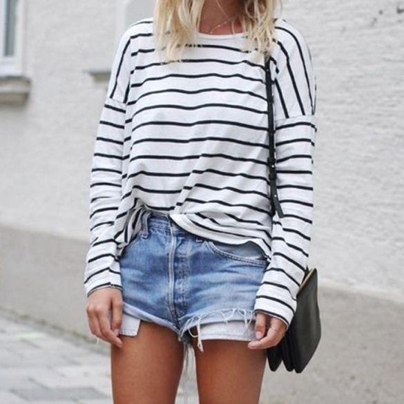 Women Casual Long Batwing Sleeve O-neck T-Shirt Ladies Loose Stripe T-Shirt Tops