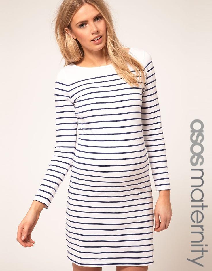 Maternity Fashion: ASOS Maternity Baumwollkleid weiß/marine €36,92