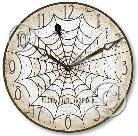 Vintage Style Halloween Spider Clock is perfect to display during the witching hours!