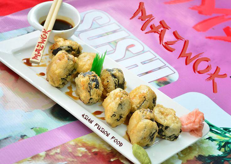 Teriyaki Umi: Rollitos de basa, queso crema y ajonjolí bañados en nuestra tradicional salsa Teriyaki.