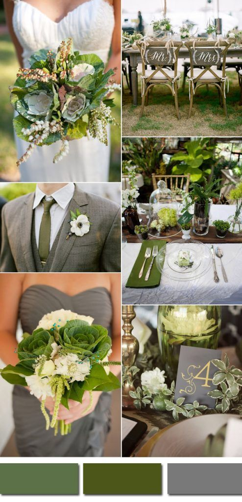 kale,olive green and grey wedding ideas for 2017