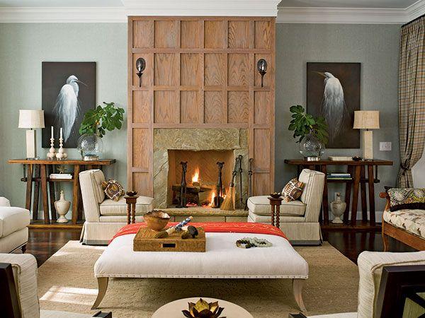 Coastal Living Seawatch Idea House * Grid Around Fireplace * Large Ottoman