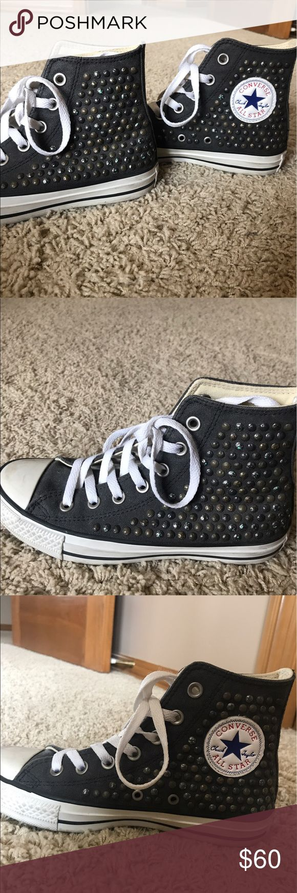 Converse (Free People) Studded Gray High Tops These were purchased for $100 on Free People. Converse brand high tops in size 6.5 women's (4.5 men's). I wore these two or three times. Make an offer! Converse Shoes Sneakers