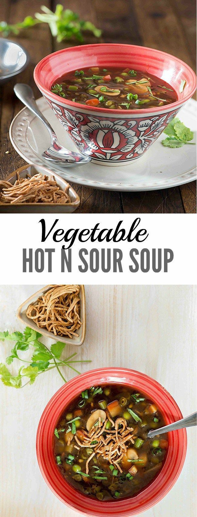 Vegetable Hot n Sour Soup is popular soup from Indo Chinese cuisine. As the name vegetable hot n sour soup suggests the soup is spicy with heat of chili, loaded with fresh vegetables and tanginess from rice vinegar.
