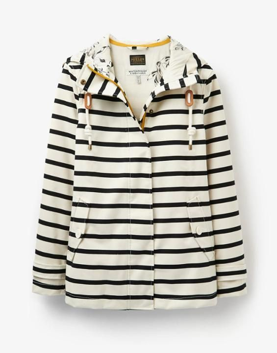 Black Stripe Coastprint Waterproof Hooded Jacket | Joules UK