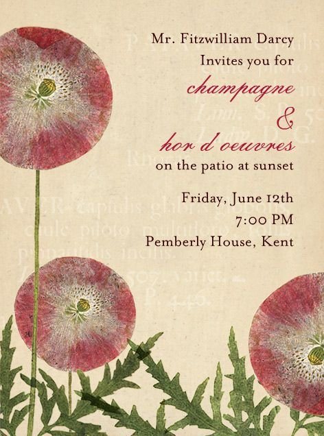 """Nice e-stationary - almost as good as paper....  """"Papaver"""" Invitation, by John Derian, Paperless Post: Http Paperless Ly Iandmi, Send Online, Custom Card, Paperless Posts, Beauty Things, Party Idea, John Derian, Invitations Card, Design Custom"""