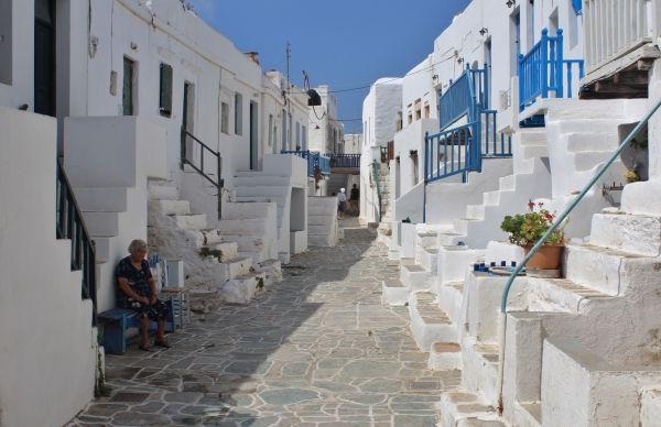 Locals in Kastro, the oldest quarter in Folegandros