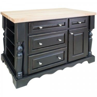 """53-1/2"""" x 34-1/2"""" x 33-1/2"""" furniture style kitchen island with ample cabinet storage as well as three wine racks in opening shelf on the reverse This island is manufactured using the highest quality"""