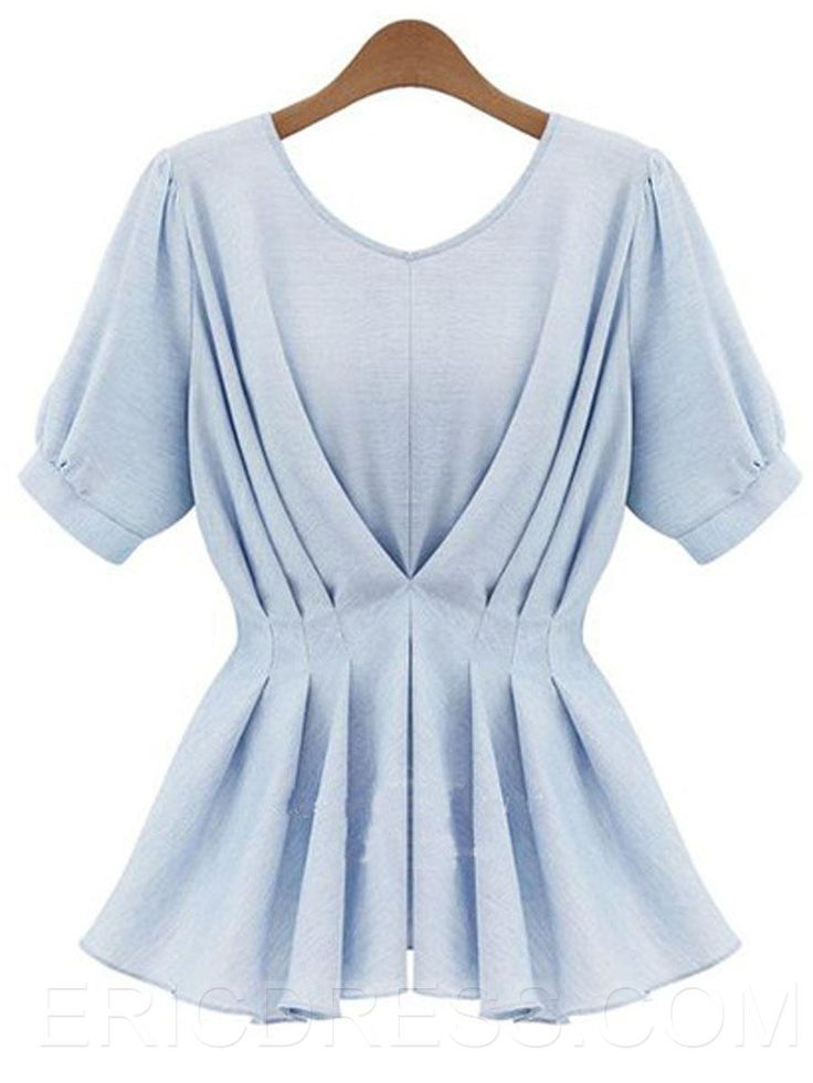 Ericdress Slim Pleated A-Line Blouse Blouses