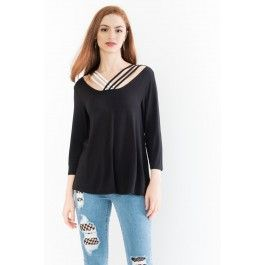 Jersey Top with Contrast Criss Cross