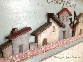Quadroin legno Country   con casettea rilievo   dipinte a mano   arricchitoconstoffa   efilo di canapa!