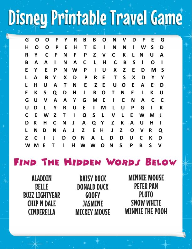 Free Disney printable travel games for kids